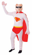 Mens Superpig Superhero Pink Fancy Dress Costume with Cape Super Pig Outfit New