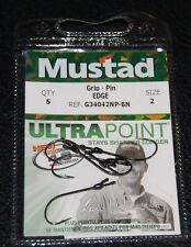 Mustad G34042NPBN-02 GRIP PIN Edge Straight Shank Bass Hooks Size 2 Pack of 5
