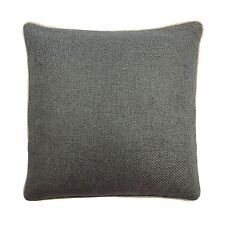 PLAIN WOOL EFFECT WOVEN GREY BEIGE PIPED CUSHION COVER
