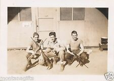 end  WWII US Army 3 soldiers armed photo, pistols, rifles, bayonet Oceanside CA