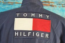 Tommy Hilfiger VTG Spellout Flag Shirt Size Large Cotton RARE USA Embroidery L