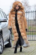 NEW 2017 GOLD FOX LONG FUR COAT HOOD CLAS CHINCHILLA SABLE MINK LYNX SILVER FIRE