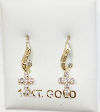 Cross Dangle Earrings 14k Gold with Cubic Zirconia - Hook Wire CZ Cross Earring