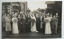1950s B/W Photograph. A Wedding Group. Newport, Wales. Period Clothing/ Bridal