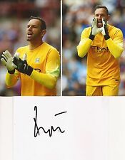 Man city * richard wright signé 6x4 whitecard +2 unsigned photos + coa
