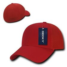 Solid Red Flex Low Crown Cotton Mesh 6 Panel Baseball Golf Fit Fitted Hat Cap