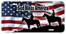 Personalized Monogrammed Custom License Plate Auto Car Tag Flag USA Cowboy Horse