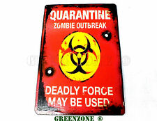 Quarantine Zombie Outbreak Deadly Force Wooden Sign for Kids Bedroom Door/ Wall