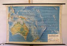 Schulwandkarte kleine Wandkarte Karte Australien 114x80 Neuseeland ~1950 Vintage