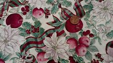 COTTON FABRIC -POINSETTIAS, APPLES, BERRIES & BOWS ON WHITE KESSLERS CONCORD BTY