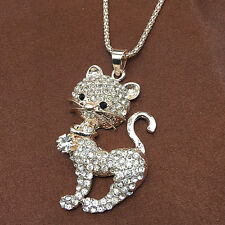 Rose Gold Plated Cute Cat Crystal Rhinestone Pendant Long Chain Necklace