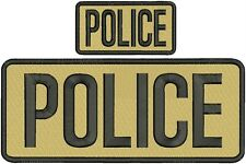 """""""POLICE """" embroidery patch  4X10 and 2x5 inches hook  ON BACK Tan"""