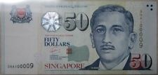 "Singapore Portrait Series $50 With Fancy Number ""100009"""