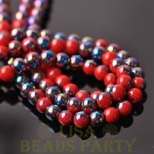 New 100pcs 6mm Round Loose Spacer Glass Beads Porcelain Red Half Colorized