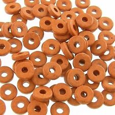 8mm Greek Disk Beads 2.7mm Hole Brown G32 Narrow Rondelle Spacer Ceramic Disc
