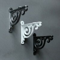 "4"" SMALL ANTIQUE CAST IRON VICTORIAN SHELF WALL BRACKET BLACK WHITE PEWTER-BR01"