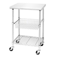 Rolling Silver Stainless Steel Kitchen Work Table Cart With Locking Wheels