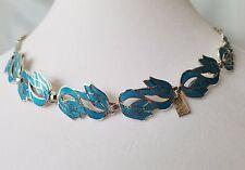 Melesio Rodriguez Margot De Taxco Design Sterling Silver Tulip Enamel Necklace