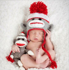 Newborn Baby Infant Knit Sweater Crochet Photography Prop Monkey Hats 0-8M 550