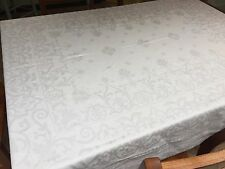 "STUNNING Irish Damask Tablecloth, 80x90, Monogrammed ""B"", White, Vintage (RF525"