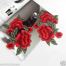 2pcs Rose Floral Flower Rayon Embroidered Sew On Patch DIY Clothing Applique