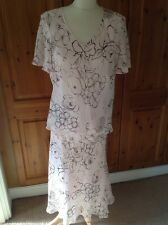 BEAUTIFUL JACQUES VERT TWO PIECE LIGHT PINK & BROWN SKIRT SUIT UK SIZE16-18 BNWT