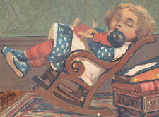 1880s ~ 4 GREAT AT & P TEA Co TRADE CARDS, MESSY SM GIRL & DOLL, FREE SHIP, TC85