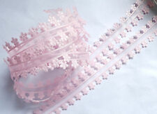 MY ARTS-3/4 Inch SHEER/DAISY EDGE pink Ribbon/trim selling by the yard