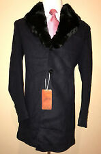 STEFANO RICCI NAVY BLUE LUXURY CASHMERE WOOL MINK COLLAR COAT ~ SIZE 54 ~ 12.5K