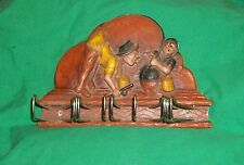 VTG SYROCO WOOD TIE RACK FLY FISHING FISHERMAN CREEL BASKET RETRO MAN CAVE DECOR