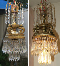 SEAHORSE Swag Lamp Chandelier Glass brass horse crystal Prism waterfall fountain