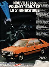 Publicité Advertising 1981  NOUVELLE FSO POLONEZ 1500 7 CV