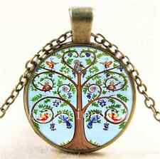Vintage Animal Tree of life Cabochon Glass Bronze Chain Pendant  Necklace