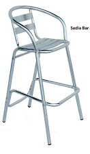 Sgabello sedia alta da bar in alluminio per tavolo snack senza braccioli mod.min