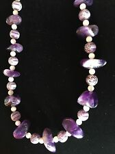 Amethyst & Mother Of Pearl & Starburst Bead Necklace