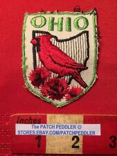 PATCH OHIO NORTHERN CARDINAL CARNATION TRAVEL SOUVENIR COLLECTIBLE VINTAGE 5DSS