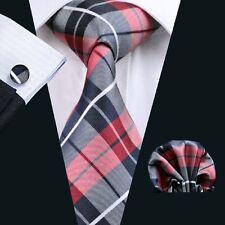 C-342 Hot New Mens Silk Ties Red Wedding Party Neckties Tie+Hanky+Cufflinks
