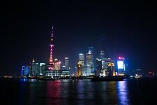 SHANGHAI SKYLINE CITYSCAPE POSTER NIGHT 24x36 HI RES