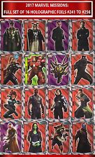 Topps MARVEL MISSIONS cards 2017: Full set of 16 HOLOGRAPHIC Foils #241-256