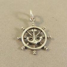 .925 Sterling Silver 3-D CAPTAINS WHEEL WITH ANCHOR CHARM NEW Pendant 925 NT79