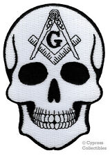 MASONIC SKULL EMBROIDERED PATCH iron-on FREEMASON SQUARE COMPASS MASON LOGO new