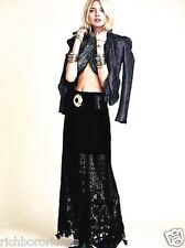 NEW Free People Mi Amore black crochet lace Maxi Skirt 4 $168