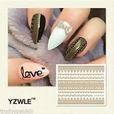 3D Nail Art Stickers Decals Tranfers Metallic Gold Lace Flowers Gel Polish 6028