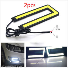 U Shape White 2× COB 6000K Daytime Running Light DRL Headlight Fog Driving Lamp