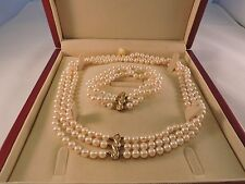 Akoya Pearls Necklace & Bracelet $7,740 Certificate Appraisal 18k Diamonds AAA