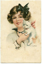 ILLUSTRATEUR ELLY FRANK. CHARMANTE LADY ET SON CHAT.LOVELY LADY AND HER CAT