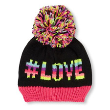 Girls '# Love' and a heart image on the back  Beanie  Pom Pom HAT size (4-7YR)