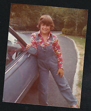 Vintage Photograph Adorable Little Boy Wearing Overalls Leaning on Old Car
