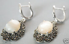Natural Oval Shell Pearl & Marcasite 925 sterling silver dangle Earring