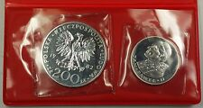 1982 200 and 100 Zloty Silver Poland Pope John Pauls Visit Commem. UNC Coins